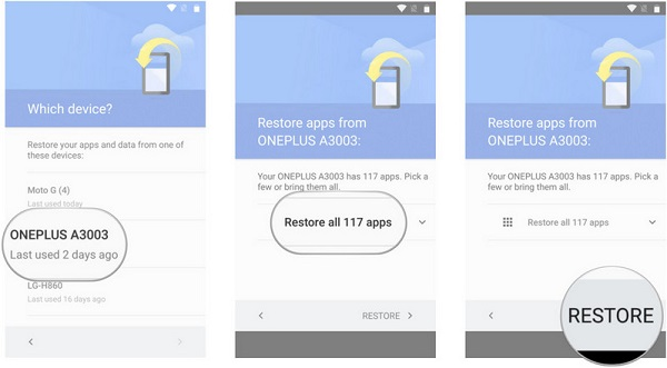 restore android data from google backup