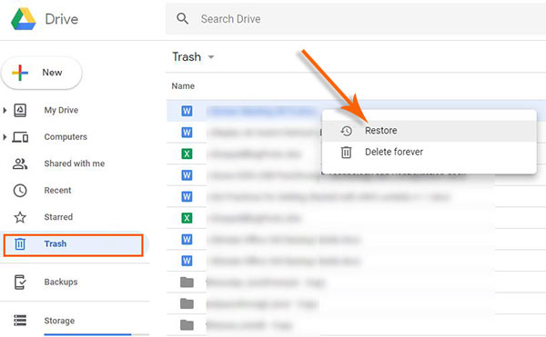 document recovery with google drive