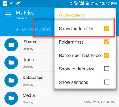 how to show hidden files in sd card