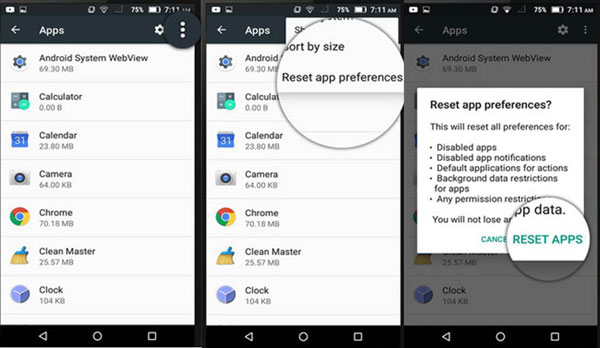 reset applications on android