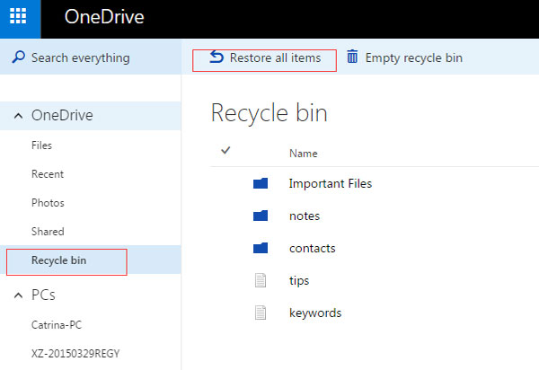 restore all items on onedrive