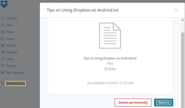 recover deleted dropbox files