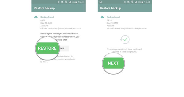 restore whatsapp chats from backup