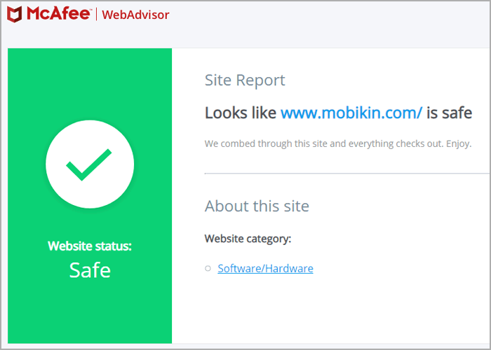 website test report from mcafee