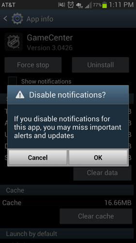 disable app notifications on android