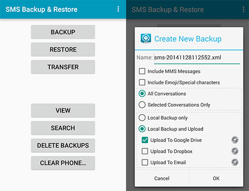 back up sms on oneplus