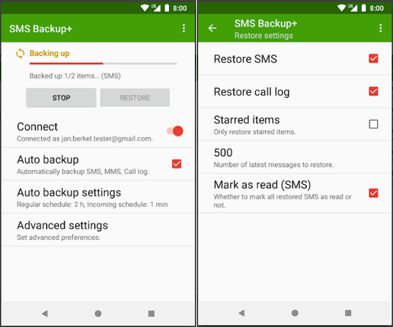 Recover Deleted Texts on Android via SMS Backup+