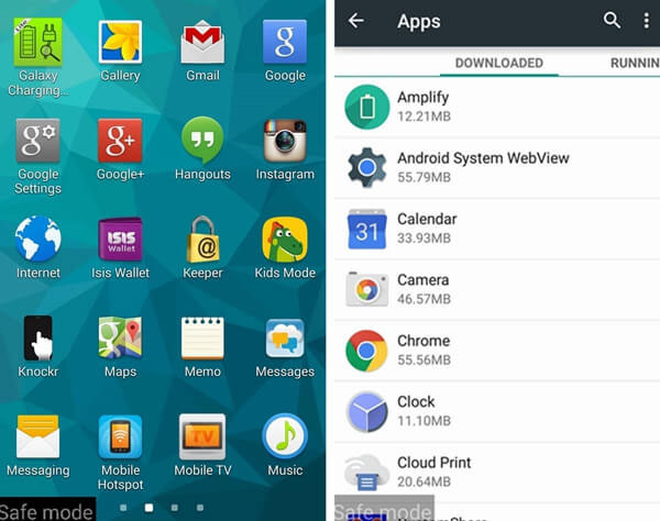 manage apps in safe mode