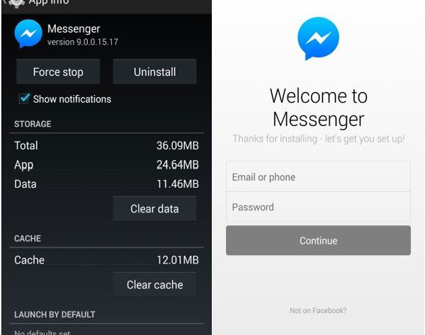 how to delete cache in messenger app