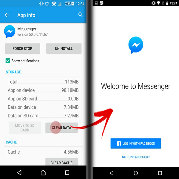 log out facebook messenger