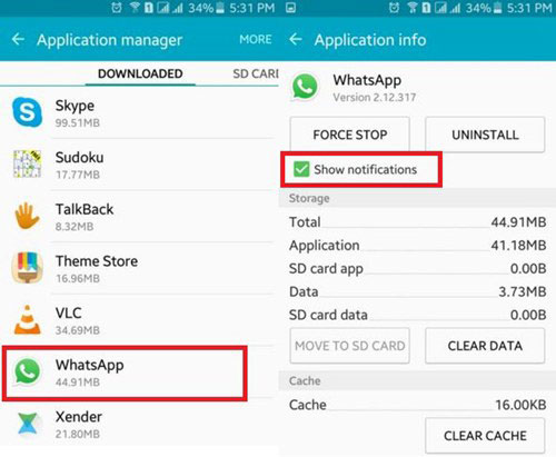 show whatsapp notifications