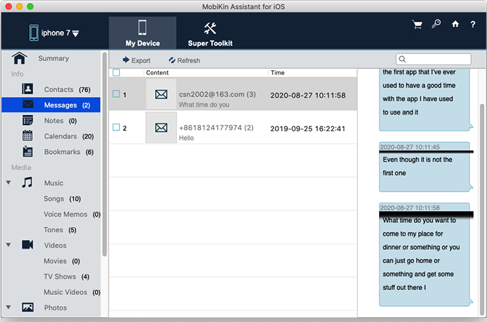 export sms from iphone to mac