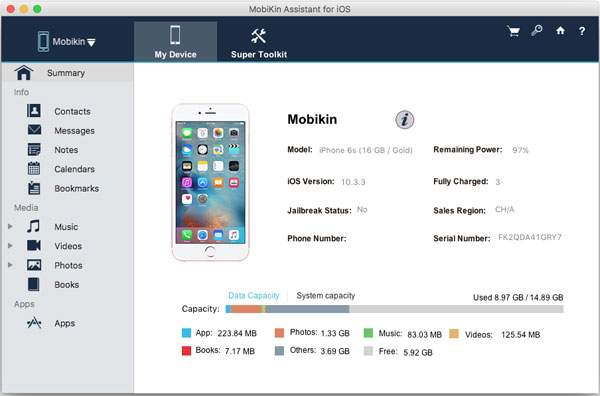 iphone to mac transfer main screen