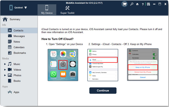 turn off icloud contacts on iphone