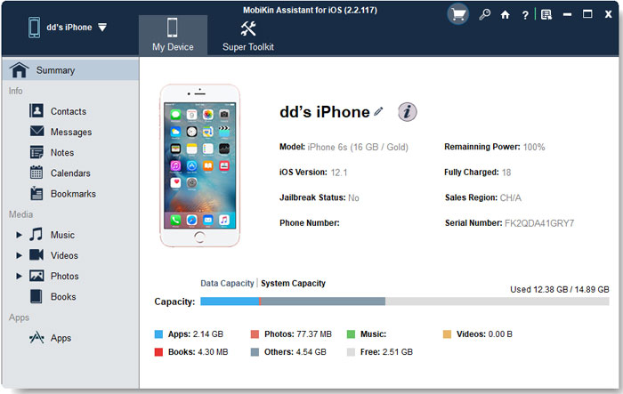 Primary Interface of iOS File Transfer