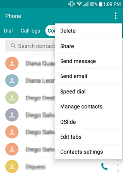 delete contacts on android