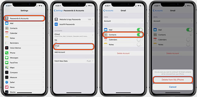 how to remove all contacts on iphone from gmail hotmail and yahoo