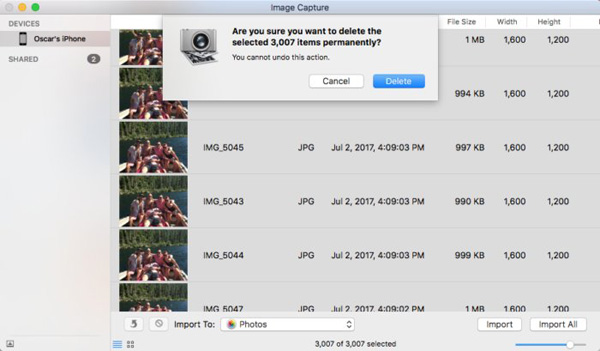 delete heic photos on mac with image capture