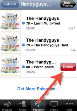 delete podcasts on iphone