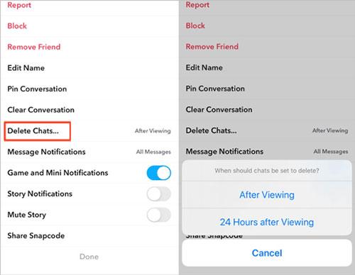 delete snapchat conversation history automatically