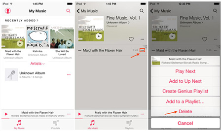 how to delete songs from ipod with music app