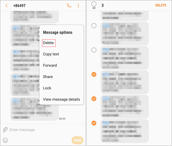 delete specific text messages from a conversation