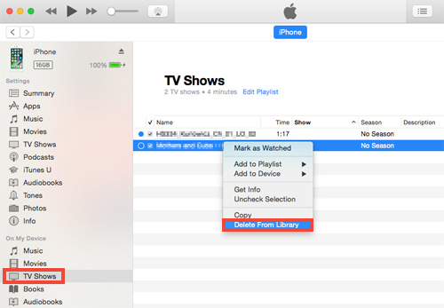delete tv shows on iphone
