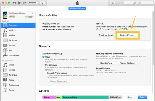 erase iphone without passcode via itunes