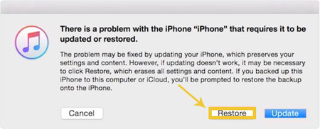 remove iphone passcode by restoring the device using itunes