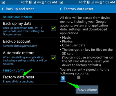 factory reset samsung phone