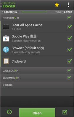 clean up phone app - history eraser