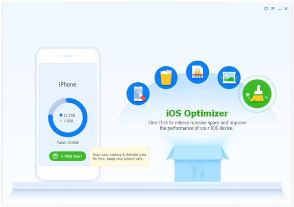choose ios optimizer option to delete temporary files