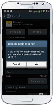 disable message notifications on android