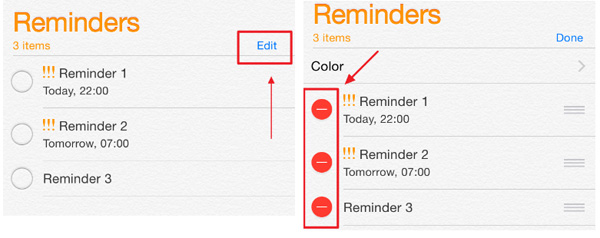 delete reminders from iphone