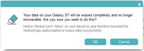 Confirm Your Option to Erase the Device