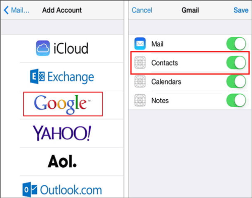 how do you add new contacts to iphone with gmail