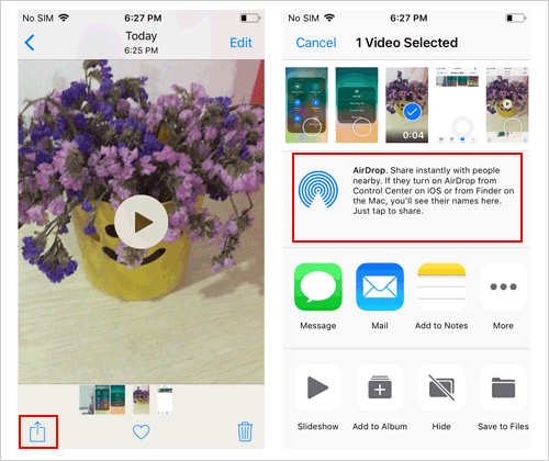 airdrop videos on iphone