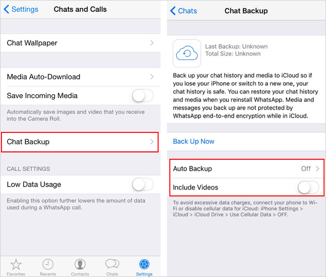 auto backup whatsapp chat on iphone