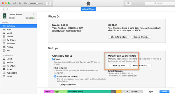 use itunes to backup your iphone calendars