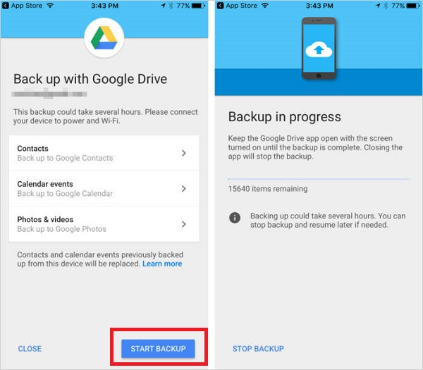 backup iphone with google drive