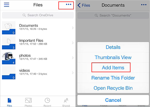 backup iphone data to onedrive