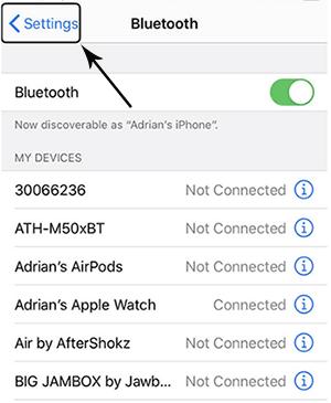 tell siri to open bluetooth settings