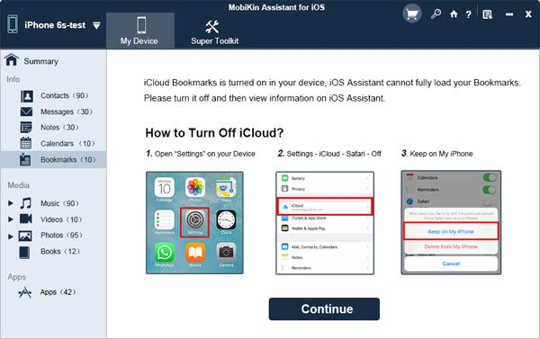 turn off bookmarks in icloud