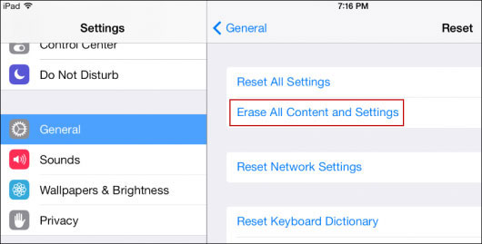 erase all settings and contents on iphone