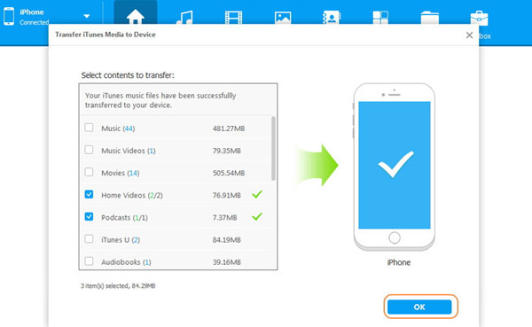share itunes files with iphone