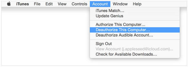 deauthorize itunes on pc