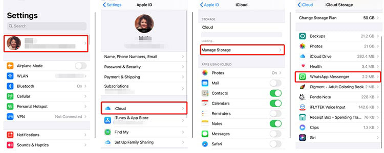 delete whatsapp backup on icloud