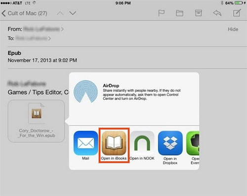 how to get epub on ipad with email