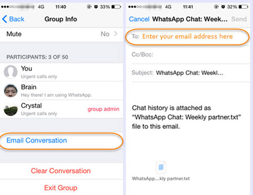 transfer iphone whatsapp chats to email