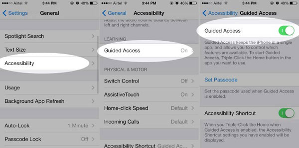 turn on guided access on iphone
